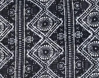 "60"" Modal Spandex Lycra Stretch Gray & White Handkerchief Bandana Illuminati Versace Print Jersey Knit Fabric By the Yard"