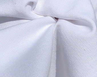 "60"" 100% Cotton Canvas 7 OZ White Apparel and  Woven Fabric By the Yard"