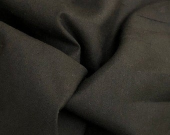 """60"""" 100% Cotton 5 OZ Sheeting Jet Black Woven Face Mask Fabric By the Yard"""