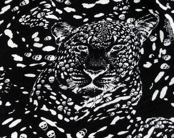 "60"" Modal Spandex  Stretch Black & White Jaguar Cheetah Skull Skeleton Print Jersey Knit Fabric By the Yard"
