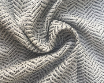 "60"" Herringbone 100% Rayon Medium Heavy Weight Gray & White Woven Fabric By the Yard"