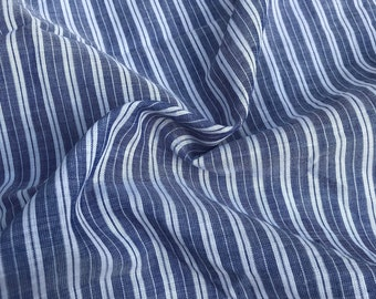 "56"" 100% Cotton Striped Yarn Dyed Blue & White Light Woven Fabric By the Yard"