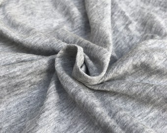 "60"" Modal & Cotton Solid Heather Gray Jersey Knit Fabric By the Yard"