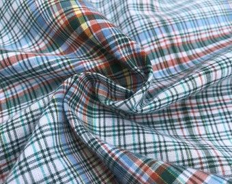 "60"" 100% Cotton Checkered Gingham Blue Colorful Rainbow Woven Fabric By the Yard"