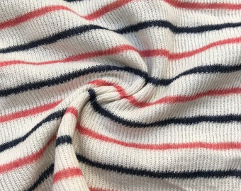 "46"" Modal Striped Polka Dot White Red Black Rib Knit & Double Knit Fabric By the Yard"