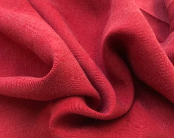 "60"" Tencel Lyocell Cotton Gabardine Twill Enzyme Washed Brick Red Apparel Woven Fabric By the Yard"