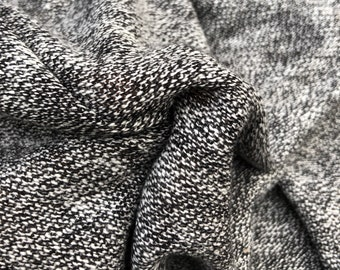 """55"""" 100% Acrylic French Terry Heather Gray & White Warm Sweater Knit Fabric By the Yard"""