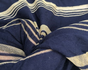 "66"" Modal Spandex  Stretch Lame Metallic Glitter Shiny Dark Navy & Gold Striped Jersey Knit Fabric By the Yard"
