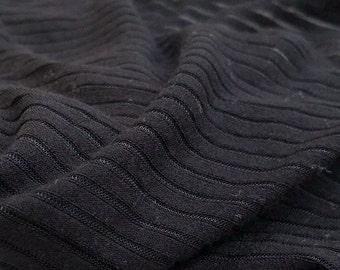 "60"" Modal & Spandex Lycra Stretch Black Striped Knit Fabric By the Yard"