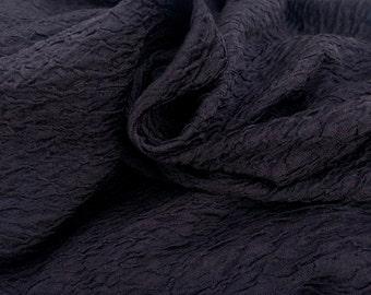 "58"" Polyester Poly & Spandex Elastane Lycra Stretch Wrinkle Wrinkly Dark Burgundy Black Apparel Knit Fabric By the Yard"