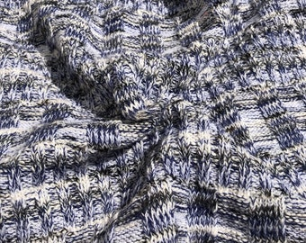 "60"" Cotton Yarn Dyed Blue Black & White Sweater Knit Fabric By the Yard"