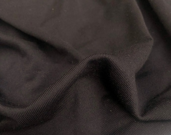 "56"" Nylon & Spandex Lycra Stretch TTY Brushed Black Woven Fabric By the Yard"
