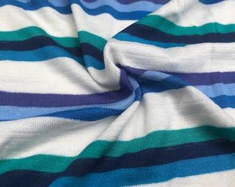 "66"" Modal Spandex Jersey Striped Multicolor Lycra Elastane Stretch Purple, Blue, & White Knit Fabric By the Yard"