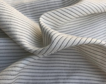 """58"""" Tencel Lyocell Cotton Striped Light Medium Weight White & Black Woven Fabric By the Yard"""