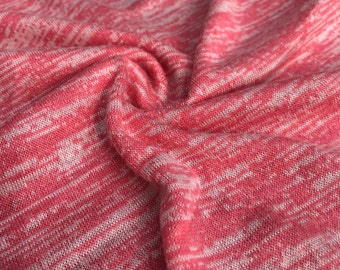 "56"" 100% Acrylic Space Dye Striped Loose Knit Light Pink & White Jersey Knit Fabric By the Yard"