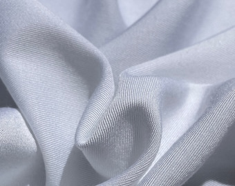 """58"""" Rayon & Polyester Poly Blend Twill Gabardine White 7 OZ Woven Fabric by the Yard"""