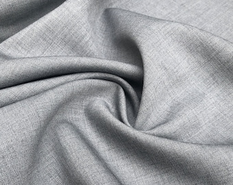 """56"""" Wool Blend Medium Weight Solid Light Gray Woven Fabric By the Yard"""