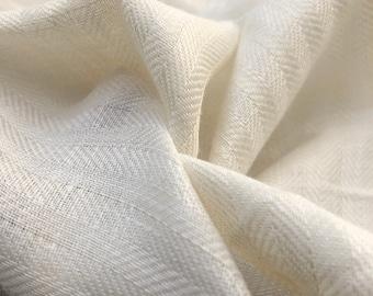 "58"" 100% Linen Herringbone 6 OZ PFD Ivory Woven Fabric By the Yard"