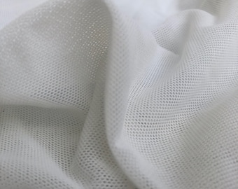 "56"" Net Nylon & Spandex Lycra Elastane Blend Power Mesh Crinoline Optic White Woven Fabric By the Yard"