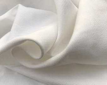 "60"" 100% Organic Cotton Twill 6 OZ White Apparel & Face Mask Woven Fabric By the Yard"