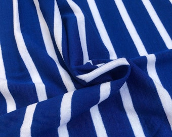 "68"" Modal & Spandex Lycra Stretch Blue White Pinstriped Yarn Dyed Knit Fabric By the Yard"