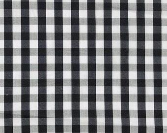 "58"" Cotton Poplin Spandex  Stretch 5 OZ Plaid Gingham Checkered Black White & Gray Woven Fabric By the Yard"