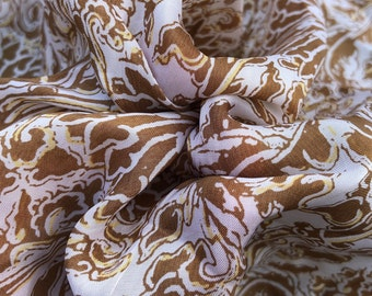 "44"" 100% Cotton Voile Chocolate Khaki Brown & White Sunflower Print Woven Fabric By the Yard"
