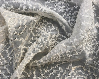 "40"" 100% Silk Bridal Veil Embroidered Embroidery Sheer & Light White Woven Fabric By the Half-Yard"