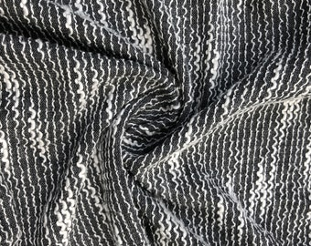 "64"" 100% Cotton Zigzag Chevron Striped Gray & White Double Knit Fabric By the Yard"