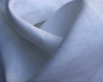 "58"" 100% Linen Flax 6 OZ Light to Medium Weight Optic White Woven Fabric By the Yard"