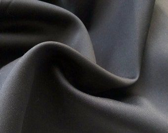 "58"" Dull Satin 100% Polyester Solid Black Woven Fabric By the Yard"