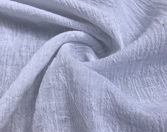 """56"""" 100% Cotton Gauze Wrinkly Off White Ivory Woven Fabric By the Yard"""