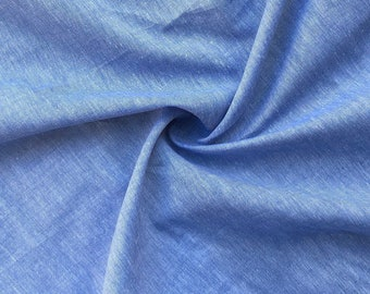"58"" 100% Cotton Pima 3 OZ Chambray Voile Baby Blue Light Woven Fabric By the Yard"