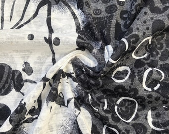 "60"" Devore Burn Out Cotton & Poly Abstract Polka Dot Print Black White Woven Fabric By the Yard"