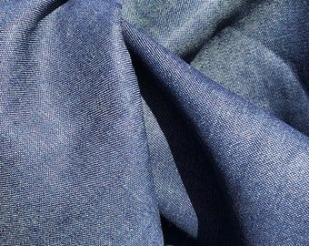 "58"" 100% Cotton Denim Chambray 7 OZ Dark Indigo Blue Apparel &  Woven Fabric By the Yard"
