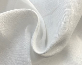 "62"" 100% Linen 5.5 OZ White Woven Fabric By the Yard"