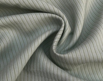 """58"""" Tencel Lyocell Cotton Striped Medium Weight Green & White Woven Fabric By the Yard"""