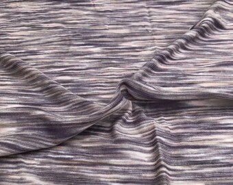 "66"" 100% Bamboo Purple White & Gray Space Dyed Knit Fabric By the Yard"