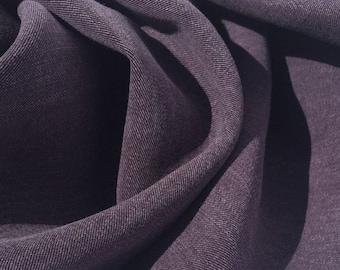 "58"" 100% Lyocell Tencel Gabardine Twill Enzymed Wash Medium Weight Eggplant Purple Woven Fabric By the Yard"