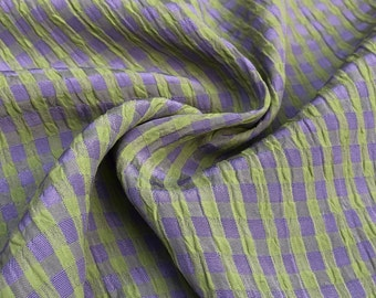"""54"""" Rayon Green & Purple Checkered Check Gingham Gauze Woven Fabric By the Yard"""