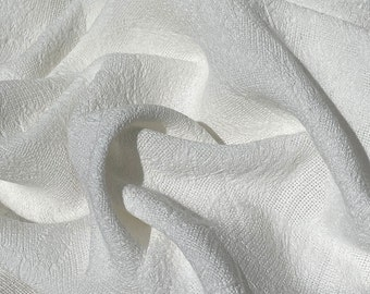 """58"""" 100% Rayon Floral Jacquard PFD White Woven Fabric By the Yard"""