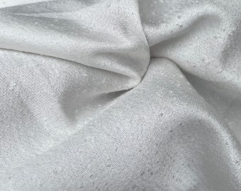 """58"""" 100% Tencel Lyocell Boucle Satin White Woven Fabric By the Yard"""