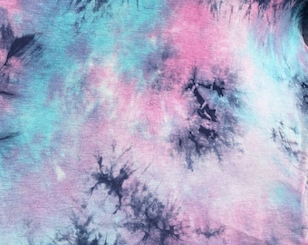 """60"""" Bamboo Spandex  Stretch Tie Dyed Cotton Candy Blue & Pink Apparel Knit Fabric By the Yard"""