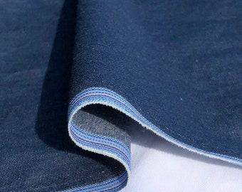"58"" 100% Cotton Pima Chambray Denim 6 OZ Dark Blue Apparel Woven Fabric By the Yard"