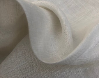 """58"""" PFD 100% Linen 3.5 OZ Handkerchief Lithuanian Ivory White Woven Fabric By the Half-Yard"""