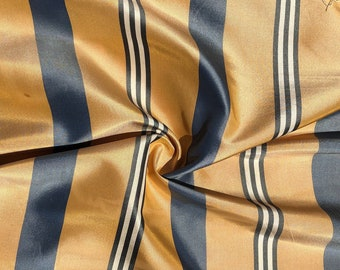 """56"""" 100% Silk Gold Yellow Blue & White Striped 5 OZ Woven Fabric By the Half Yard"""
