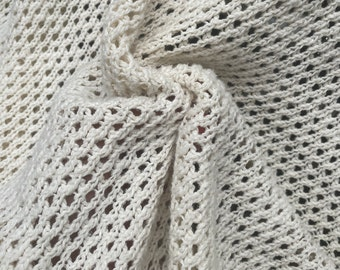 """52"""" 100% Cotton Ivory Sweater Knit Apparel Fabric By the Half-Yard"""
