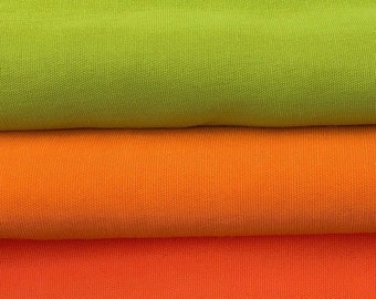 """58"""" 100% Rayon Faille Blitz Orange & Lime Green Light Weight Woven Fabric By the Yard"""