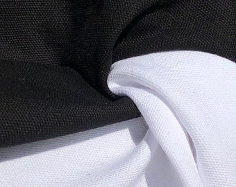 """60"""" 100% Cotton Canvas 7 OZ Black & White Apparel and  Woven Fabric By the Yard"""