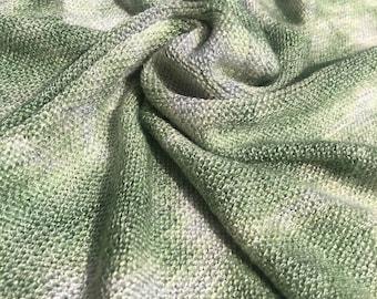 "56"" Acrylic Tie Dye Low Gauge Light Green & White Medium Weight Knit Fabric By the Yard"